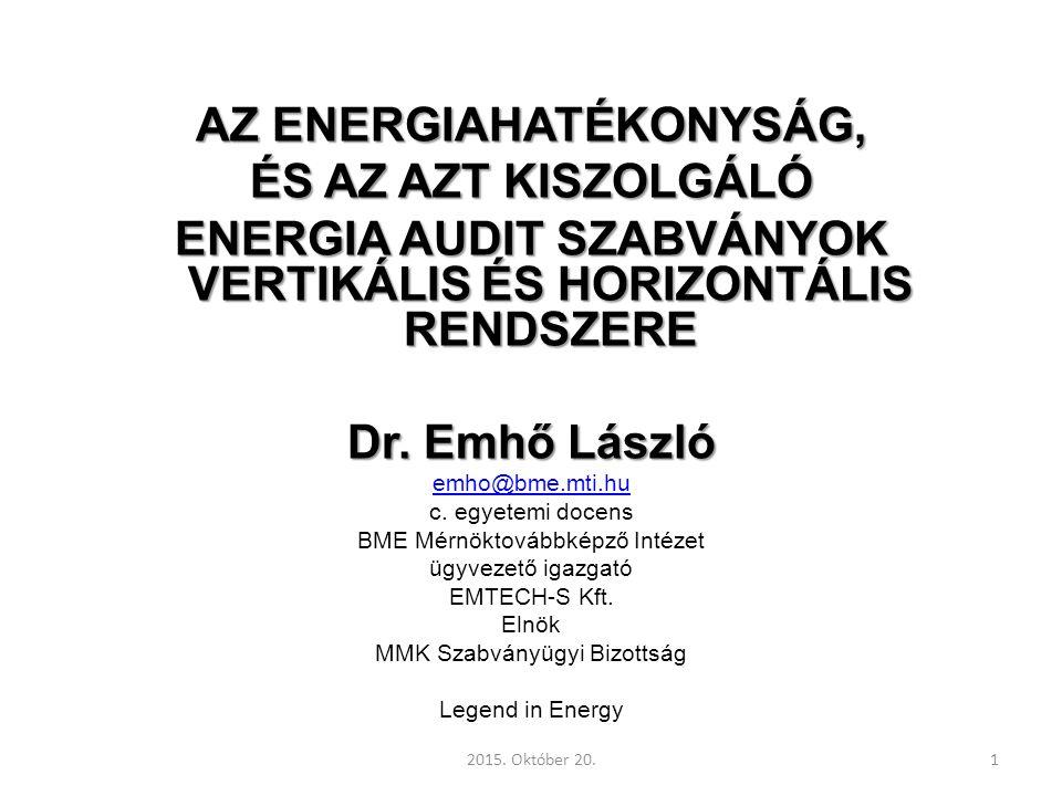 AZ ENERGIAHATÉKONYSÁG, ÉS AZ AZT KISZOLGÁLÓ ENERGIA AUDIT SZABVÁNYOK VERTIKÁLIS ÉS HORIZONTÁLIS RENDSZERE Dr.
