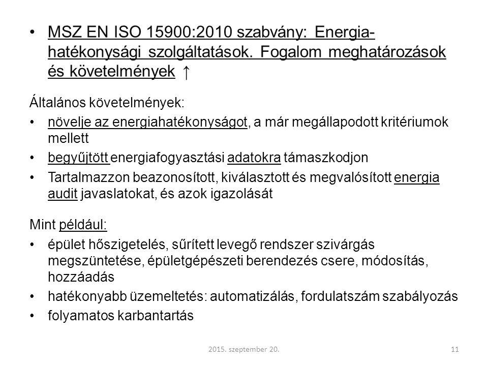 MSZ EN ISO 15900:2010 szabvány: Energia- hatékonysági szolgáltatások.