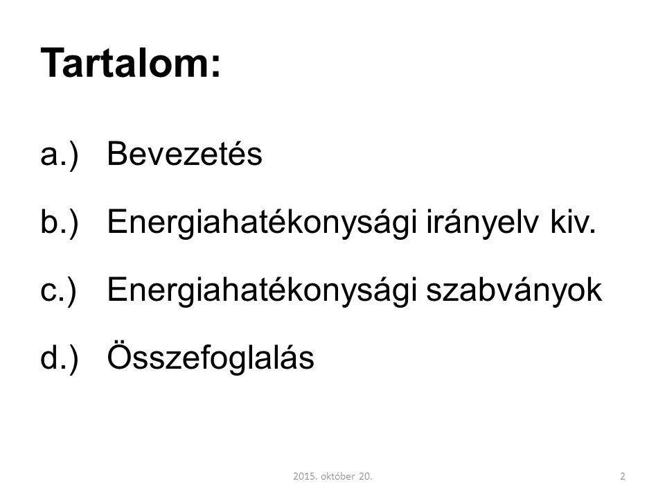 Tartalom: a.)Bevezetés b.)Energiahatékonysági irányelv kiv.