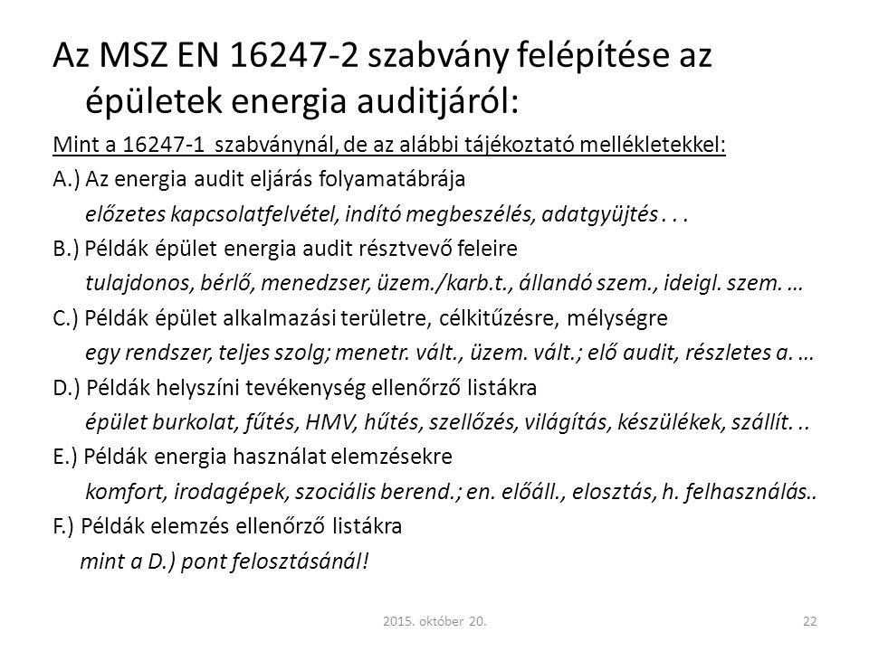 Az MSZ EN 16247-2 szabvány felépítése az épületek energia auditjáról: Mint a 16247-1 szabványnál, de az alábbi tájékoztató mellékletekkel: A.) Az energia audit eljárás folyamatábrája előzetes kapcsolatfelvétel, indító megbeszélés, adatgyüjtés...
