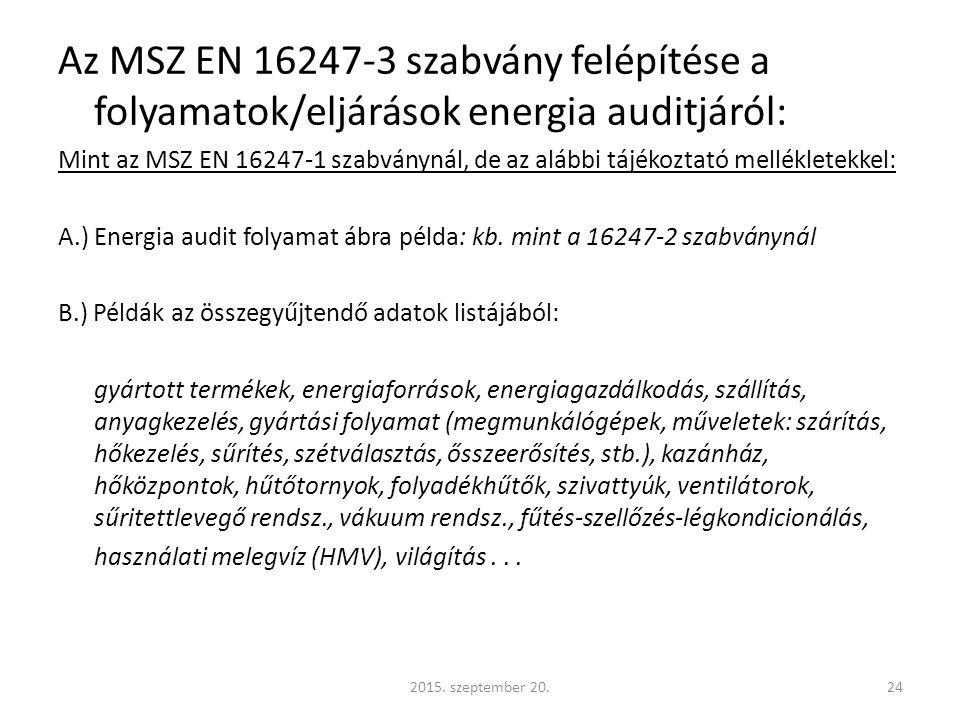 Az MSZ EN 16247-3 szabvány felépítése a folyamatok/eljárások energia auditjáról: Mint az MSZ EN 16247-1 szabványnál, de az alábbi tájékoztató mellékletekkel: A.) Energia audit folyamat ábra példa: kb.