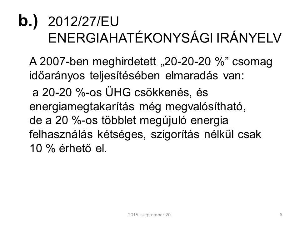 """b.) 2012/27/EU ENERGIAHATÉKONYSÁGI IRÁNYELV A 2007-ben meghirdetett """"20-20-20 % csomag időarányos teljesítésében elmaradás van: a 20-20 %-os ÜHG csökkenés, és energiamegtakarítás még megvalósítható, de a 20 %-os többlet megújuló energia felhasználás kétséges, szigorítás nélkül csak 10 % érhető el."""