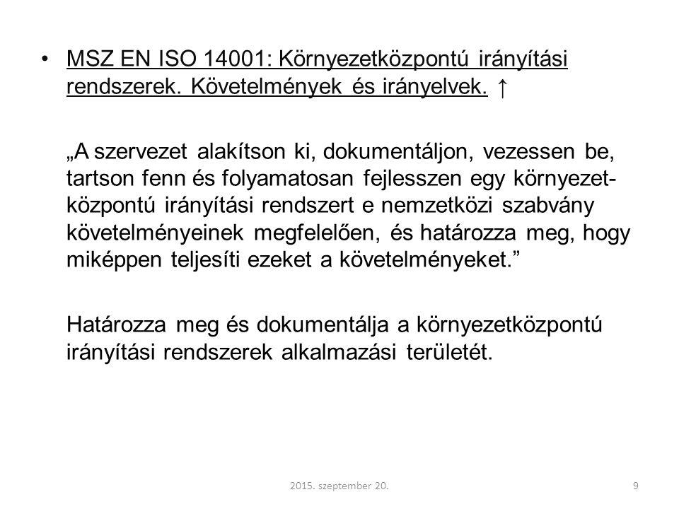 MSZ EN ISO 14001: Környezetközpontú irányítási rendszerek.