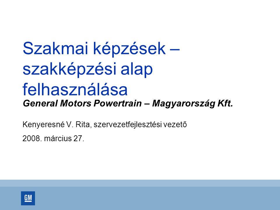 Szakmai képzések – szakképzési alap felhasználása General Motors Powertrain – Magyarország Kft. Kenyeresné V. Rita, szervezetfejlesztési vezető 2008.