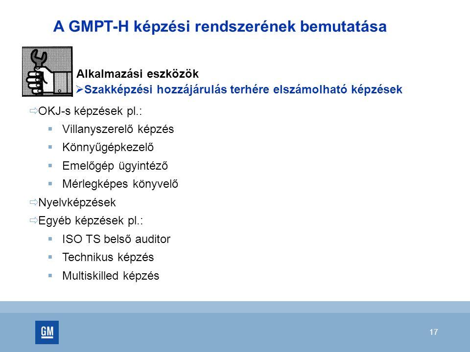17 A GMPT-H képzési rendszerének bemutatása Alkalmazási eszközök  Szakképzési hozzájárulás terhére elszámolható képzések  OKJ-s képzések pl.:  Vill