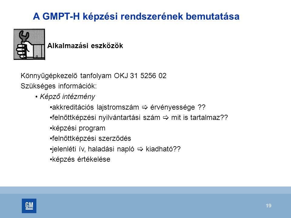 19 Könnyűgépkezelő tanfolyam OKJ 31 5256 02 Szükséges információk: Képző intézmény akkreditációs lajstromszám  érvényessége .