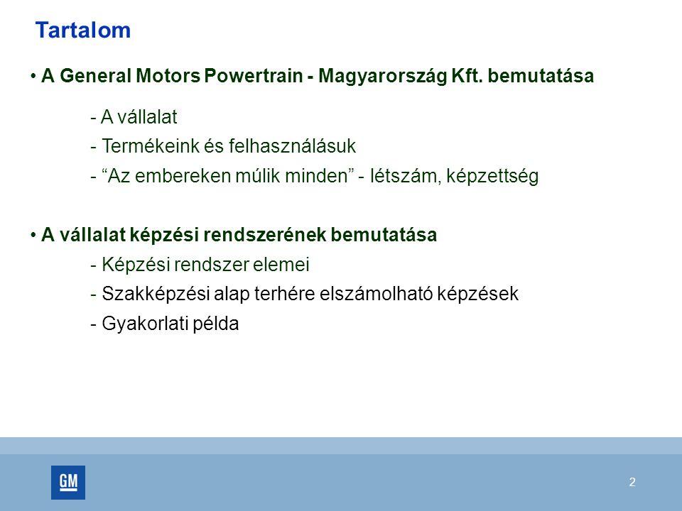 """2 A General Motors Powertrain - Magyarország Kft. bemutatása - A vállalat - Termékeink és felhasználásuk - """"Az embereken múlik minden"""" - létszám, képz"""