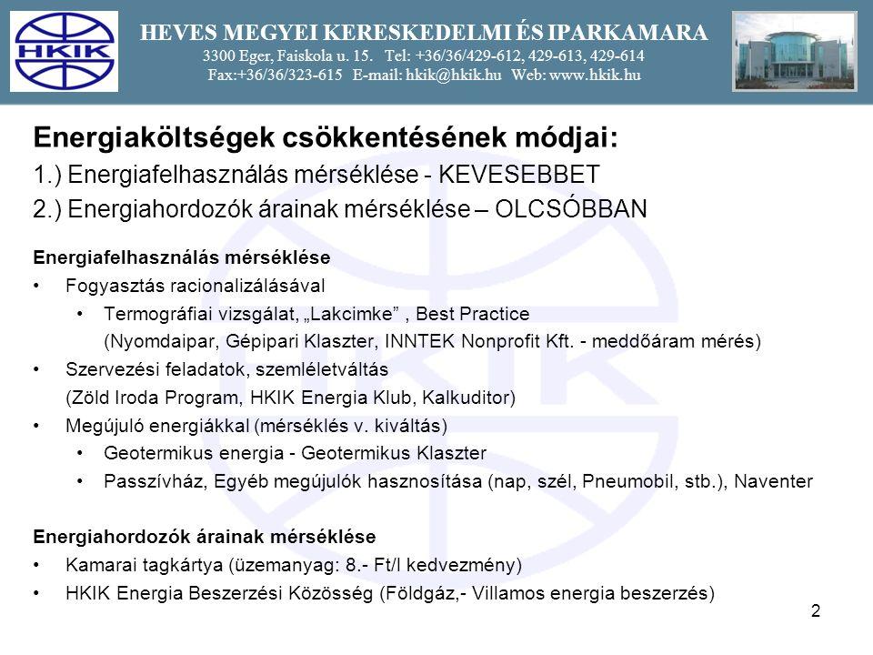 33 HEVES MEGYEI KERESKEDELMI ÉS IPARKAMARA 3300 Eger, Faiskola u.