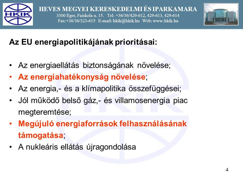 4 Az EU energiapolitikájának prioritásai: Az energiaellátás biztonságának növelése; Az energiahatékonyság növelése; Az energia,- és a klímapolitika összefüggései; Jól működő belső gáz,- és villamosenergia piac megteremtése; Megújuló energiaforrások felhasználásának támogatása; A nukleáris ellátás újragondolása
