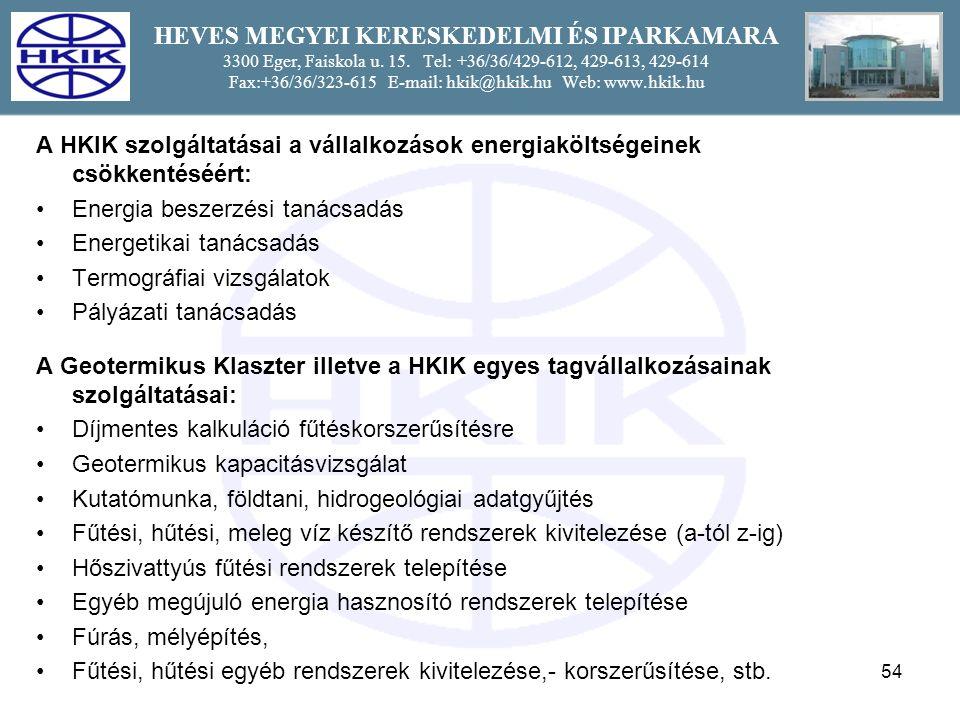 54 HEVES MEGYEI KERESKEDELMI ÉS IPARKAMARA 3300 Eger, Faiskola u.