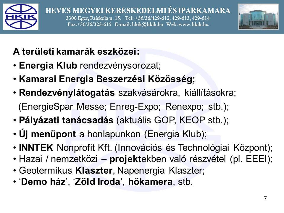 8 HEVES MEGYEI KERESKEDELMI ÉS IPARKAMARA 3300 Eger, Faiskola u.