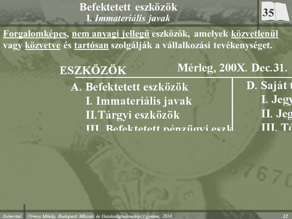 Számvitel Ormos Mihály, Budapesti Műszaki és Gazdaságtudományi Egyetem, 2014. 12 Befektetett eszközök I. Immateriális javak Forgalomképes, nem anyagi