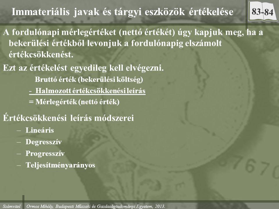 Számvitel Ormos Mihály, Budapesti Műszaki és Gazdaságtudományi Egyetem, 2013. Immateriális javak és tárgyi eszközök értékelése A fordulónapi mérlegért