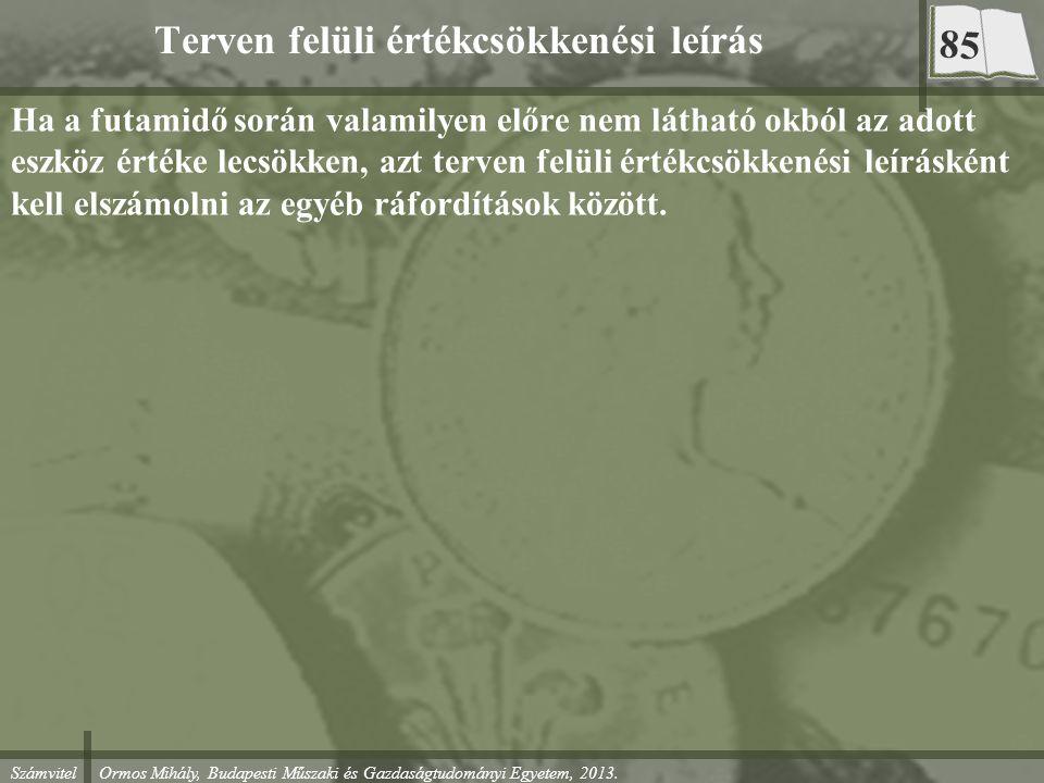 Számvitel Ormos Mihály, Budapesti Műszaki és Gazdaságtudományi Egyetem, 2013. Terven felüli értékcsökkenési leírás Ha a futamidő során valamilyen előr
