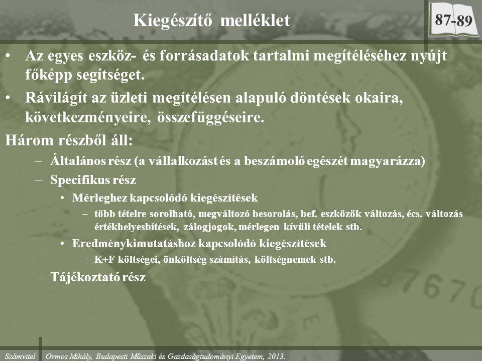 Számvitel Ormos Mihály, Budapesti Műszaki és Gazdaságtudományi Egyetem, 2013. Kiegészítő melléklet Az egyes eszköz- és forrásadatok tartalmi megítélés