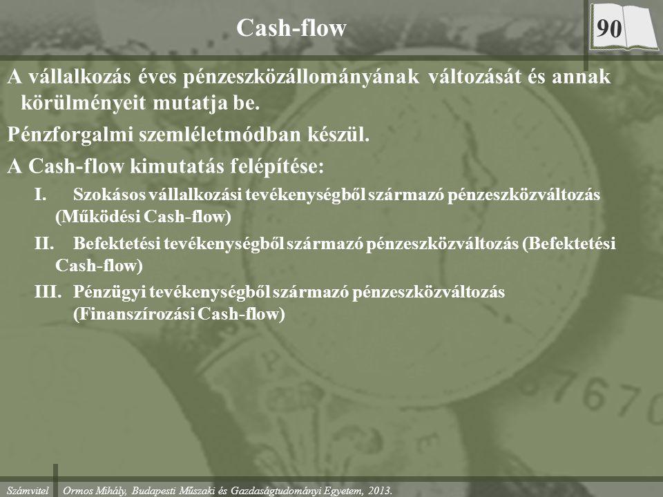 Számvitel Ormos Mihály, Budapesti Műszaki és Gazdaságtudományi Egyetem, 2013. Cash-flow A vállalkozás éves pénzeszközállományának változását és annak