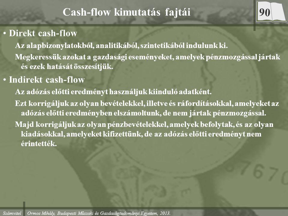 Számvitel Ormos Mihály, Budapesti Műszaki és Gazdaságtudományi Egyetem, 2013. Cash-flow kimutatás fajtái Direkt cash-flow Az alapbizonylatokból, anali