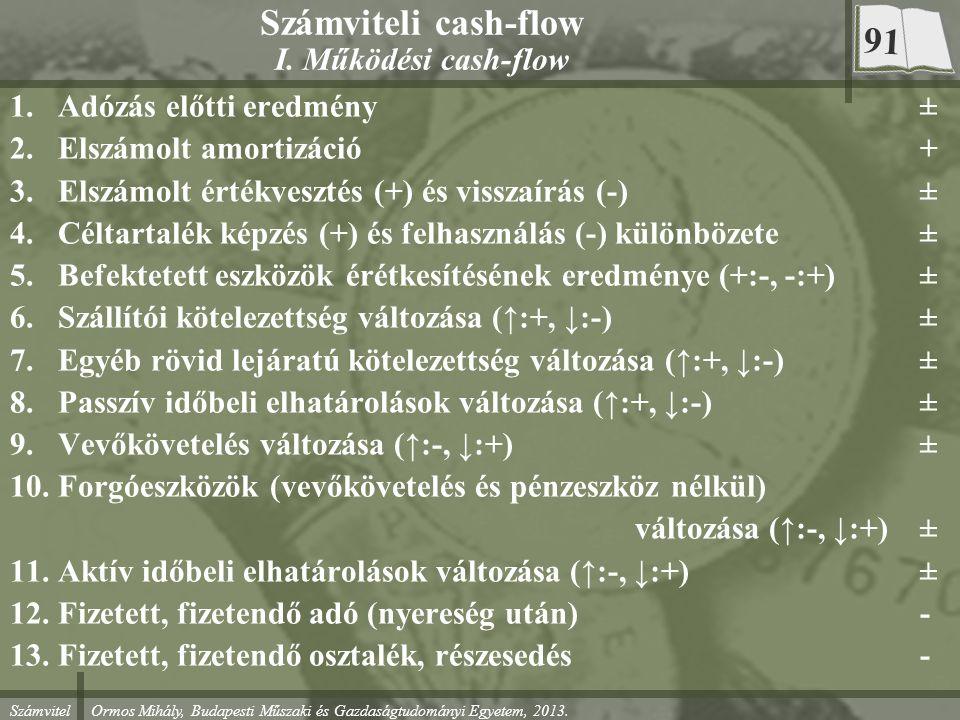 Számvitel Ormos Mihály, Budapesti Műszaki és Gazdaságtudományi Egyetem, 2013. Számviteli cash-flow I. Működési cash-flow 1.Adózás előtti eredmény± 2.E