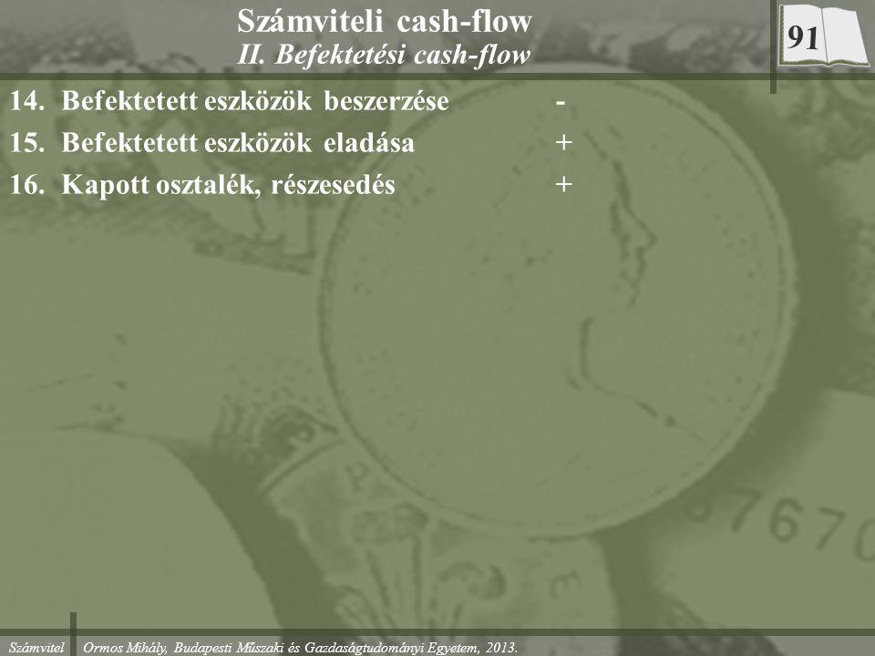 Számvitel Ormos Mihály, Budapesti Műszaki és Gazdaságtudományi Egyetem, 2013. Számviteli cash-flow II. Befektetési cash-flow 14.Befektetett eszközök b