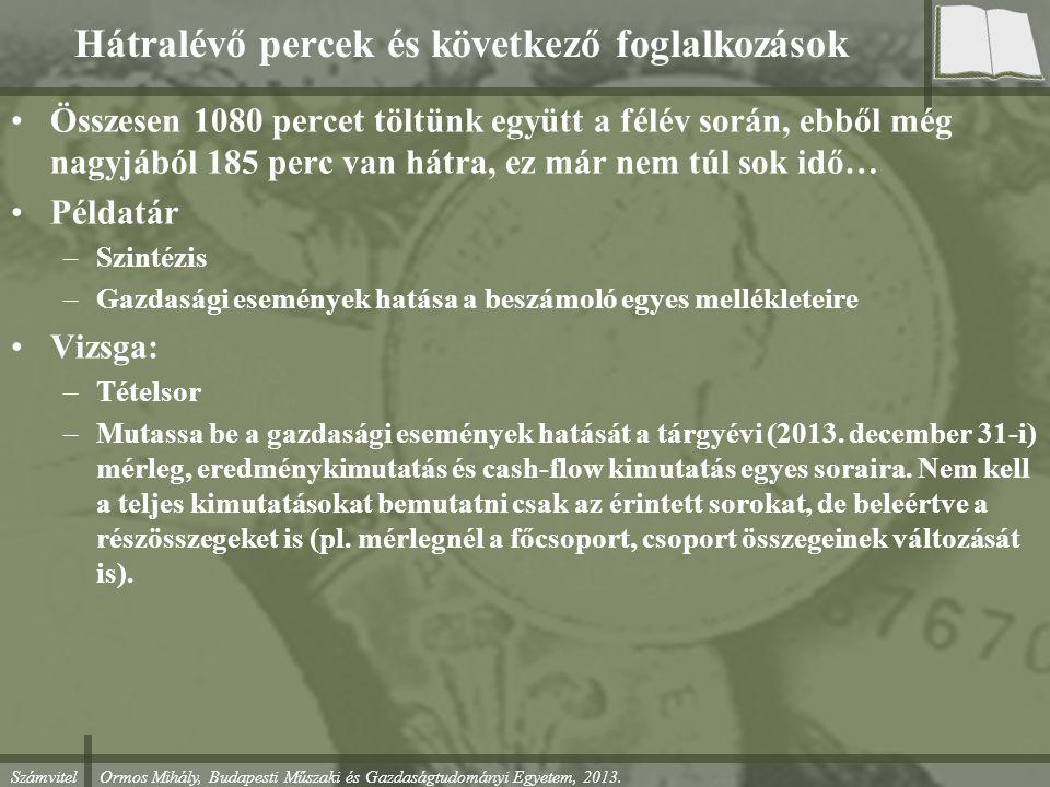 Számvitel Ormos Mihály, Budapesti Műszaki és Gazdaságtudományi Egyetem, 2013. Hátralévő percek és következő foglalkozások Összesen 1080 percet töltünk