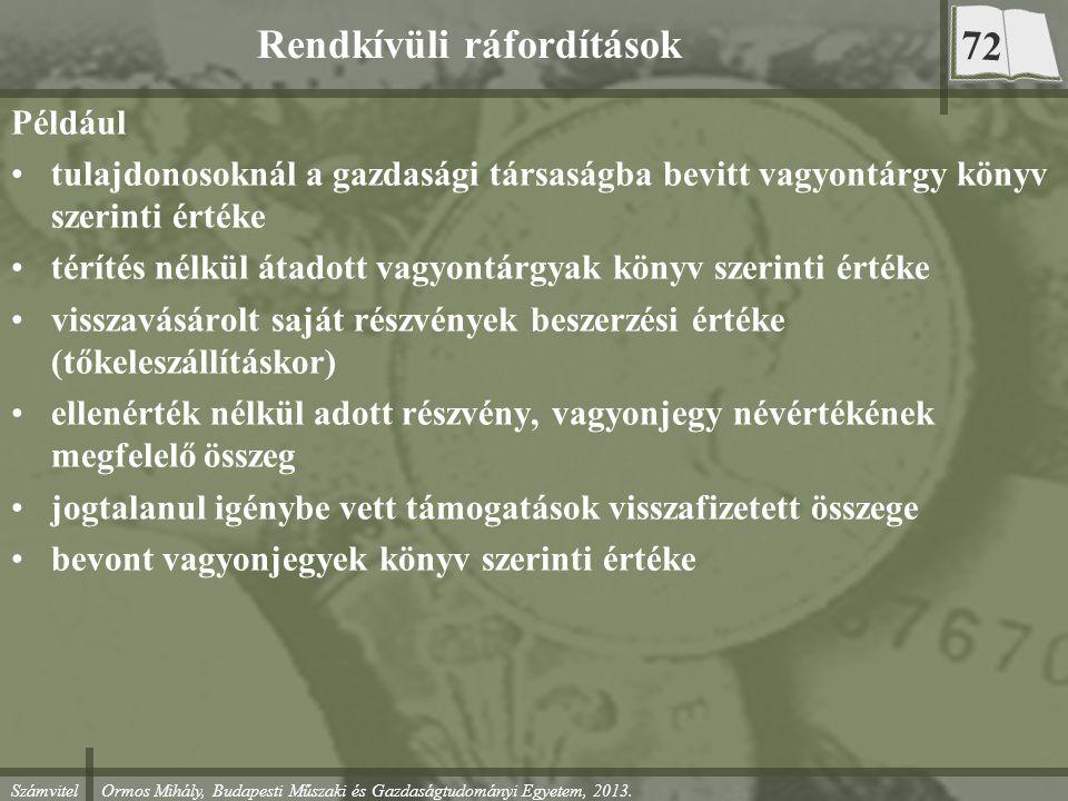 Számvitel Ormos Mihály, Budapesti Műszaki és Gazdaságtudományi Egyetem, 2013. Rendkívüli ráfordítások Például tulajdonosoknál a gazdasági társaságba b