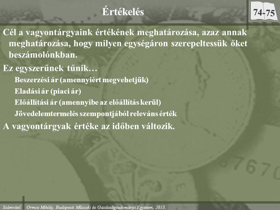 Számvitel Ormos Mihály, Budapesti Műszaki és Gazdaságtudományi Egyetem, 2013. Értékelés Cél a vagyontárgyaink értékének meghatározása, azaz annak megh