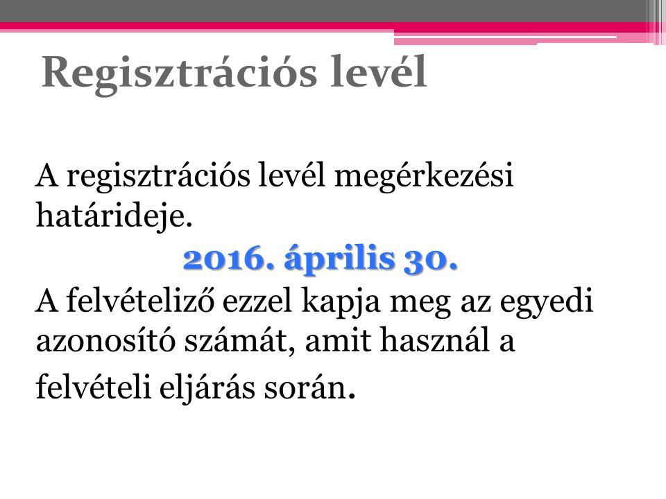 Regisztrációs levél A regisztrációs levél megérkezési határideje. 2016. április 30. A felvételiző ezzel kapja meg az egyedi azonosító számát, amit has