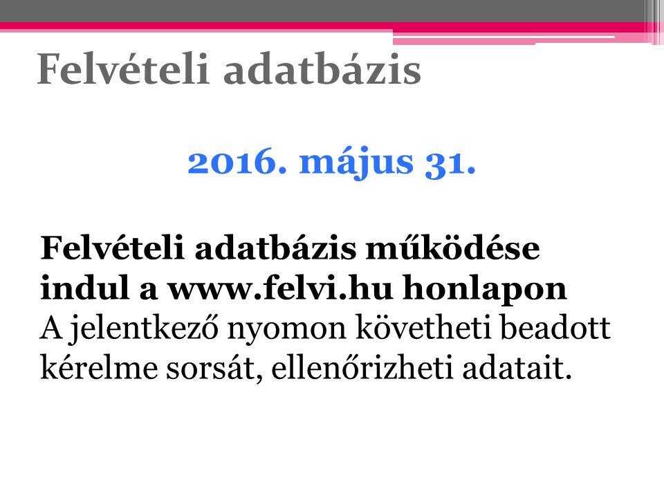 Felvételi adatbázis 2016. május 31. Felvételi adatbázis működése indul a www.felvi.hu honlapon A jelentkező nyomon követheti beadott kérelme sorsát, e
