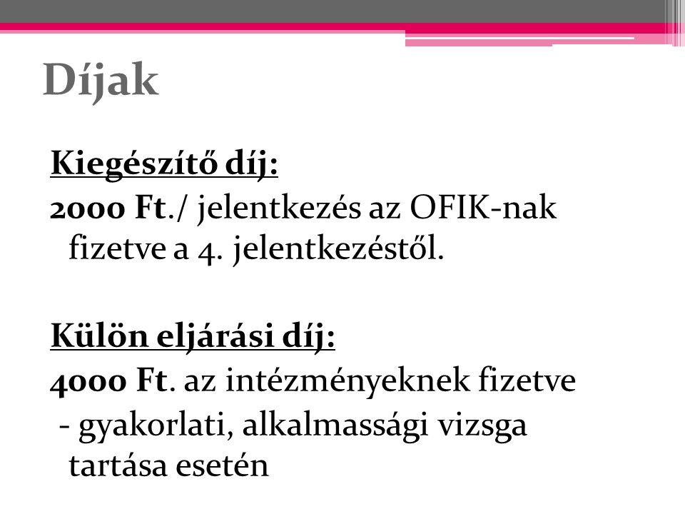 Díjak Kiegészítő díj: 2000 Ft./ jelentkezés az OFIK-nak fizetve a 4. jelentkezéstől. Külön eljárási díj: 4000 Ft. az intézményeknek fizetve - gyakorla