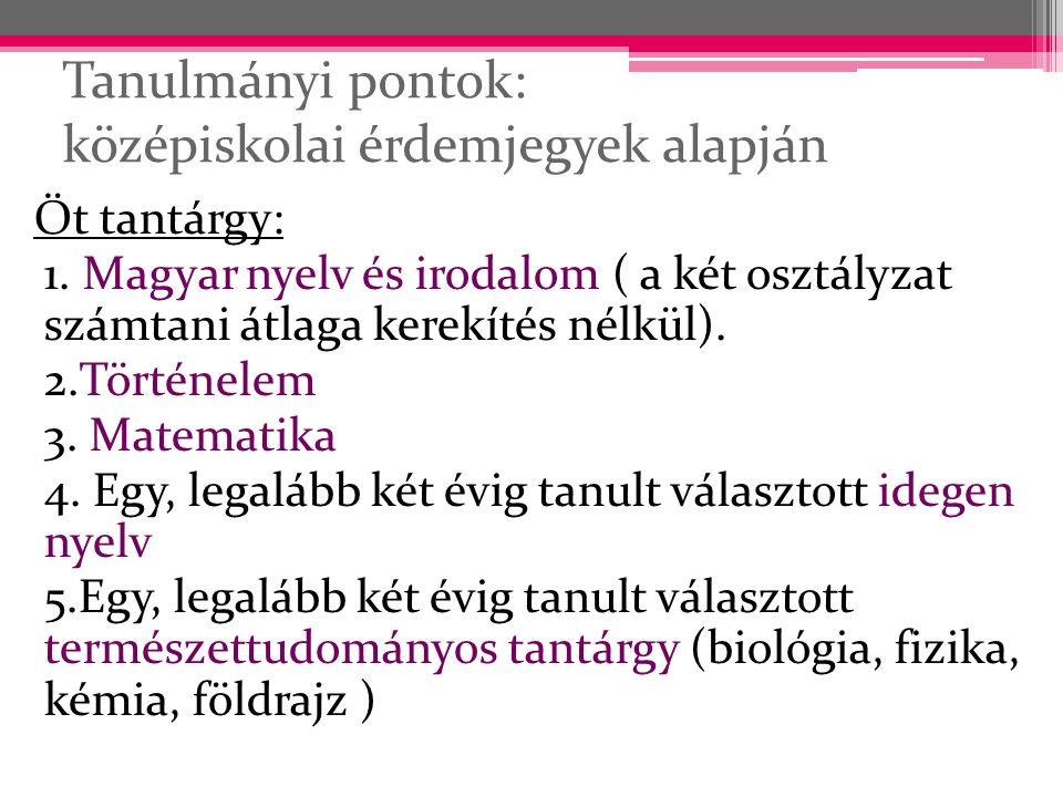 Tanulmányi pontok: középiskolai érdemjegyek alapján Öt tantárgy: 1. Magyar nyelv és irodalom ( a két osztályzat számtani átlaga kerekítés nélkül). 2.T