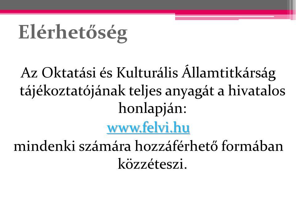 Elérhetőség Az Oktatási és Kulturális Államtitkárság tájékoztatójának teljes anyagát a hivatalos honlapján: www.felvi.hu mindenki számára hozzáférhető