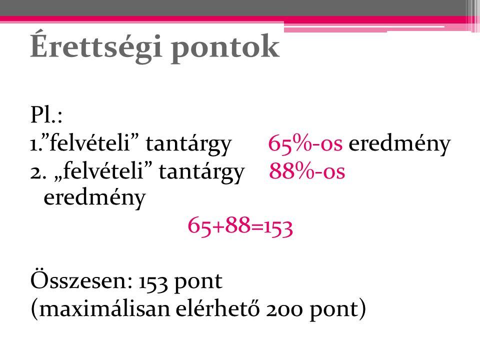 """Érettségi pontok Pl.: 1.""""felvételi"""" tantárgy 65%-os eredmény 2. """"felvételi"""" tantárgy 88%-os eredmény 65+88=153 Összesen: 153 pont (maximálisan elérhet"""