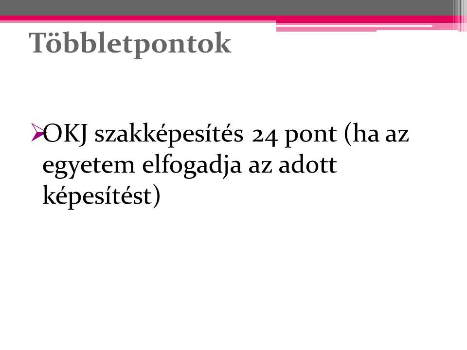 Többletpontok  OKJ szakképesítés 24 pont (ha az egyetem elfogadja az adott képesítést)