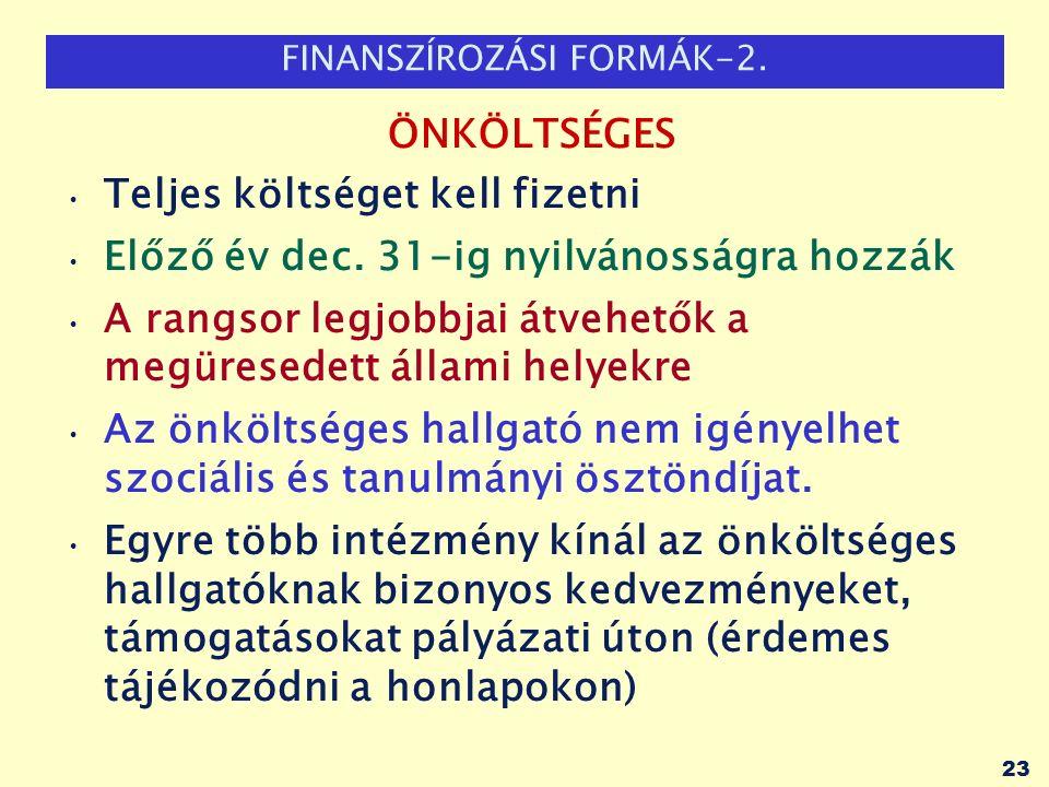 FINANSZÍROZÁSI FORMÁK-2.ÖNKÖLTSÉGES Teljes költséget kell fizetni Előző év dec.
