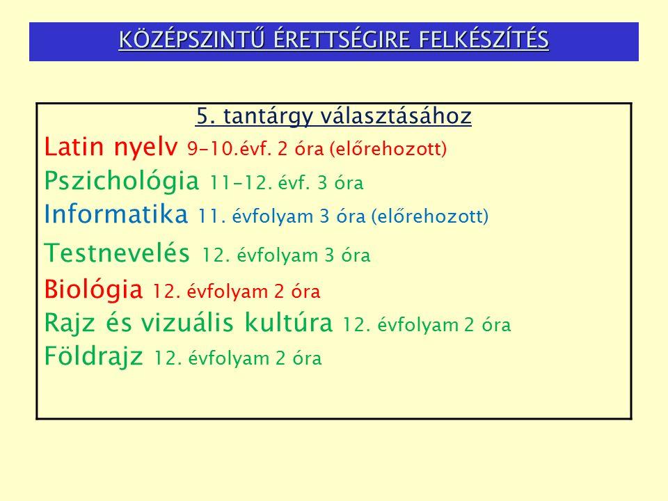KÖZÉPSZINTŰ ÉRETTSÉGIRE FELKÉSZÍTÉS 5.tantárgy választásához Latin nyelv 9-10.évf.