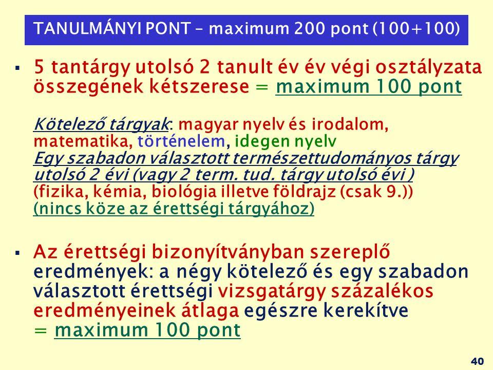 40 TANULMÁNYI PONT – maximum 200 pont (100+100)  5 tantárgy utolsó 2 tanult év év végi osztályzata összegének kétszerese = maximum 100 pont Kötelező tárgyak: magyar nyelv és irodalom, matematika, történelem, idegen nyelv Egy szabadon választott természettudományos tárgy utolsó 2 évi (vagy 2 term.