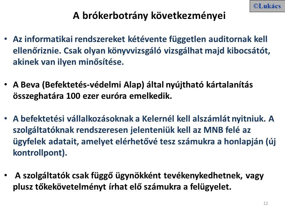 12 A brókerbotrány következményei Az informatikai rendszereket kétévente független auditornak kell ellenőriznie.