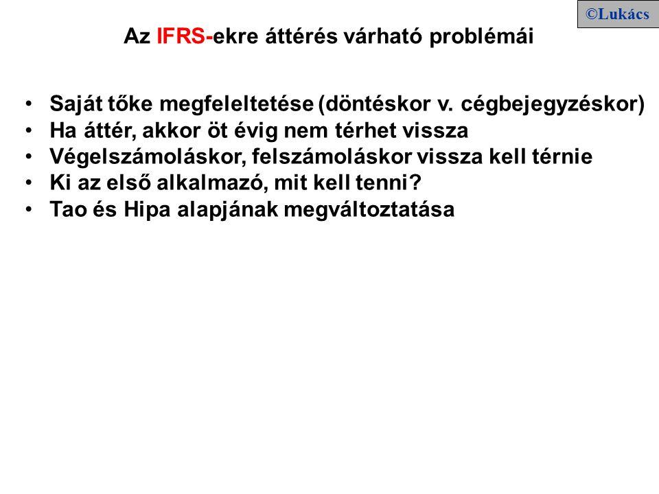 Az IFRS-ekre áttérés várható problémái Saját tőke megfeleltetése (döntéskor v.