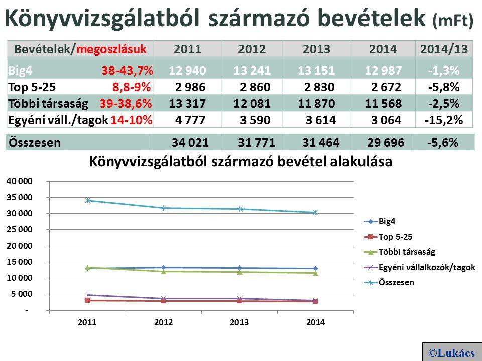 Könyvvizsgálatból származó bevételek (mFt) Bevételek/megoszlásuk20112012201320142014/13 Big4 38-43,7% 12 94013 24113 15112 987-1,3% Top 5-25 8,8-9% 2 986 2 860 2 830 2 672-5,8% Többi társaság 39-38,6% 13 31712 08111 87011 568-2,5% Egyéni váll./tagok 14-10% 4 777 3 590 3 614 3 064-15,2% Összesen 34 021 31 771 31 464 29 696-5,6% ©Lukács