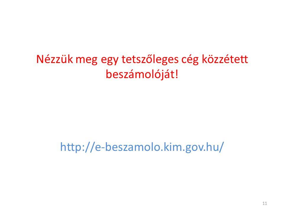 Nézzük meg egy tetszőleges cég közzétett beszámolóját! http://e-beszamolo.kim.gov.hu/ 11