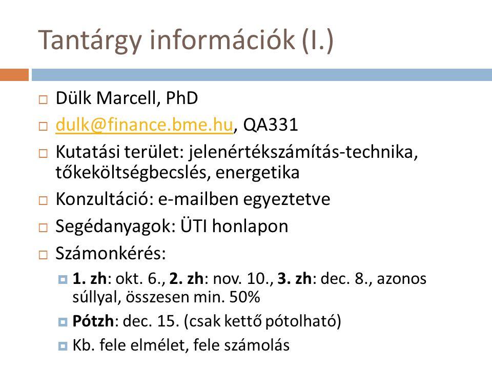 Tantárgy információk (I.)  Dülk Marcell, PhD  dulk@finance.bme.hu, QA331 dulk@finance.bme.hu  Kutatási terület: jelenértékszámítás-technika, tőkeköltségbecslés, energetika  Konzultáció: e-mailben egyeztetve  Segédanyagok: ÜTI honlapon  Számonkérés:  1.