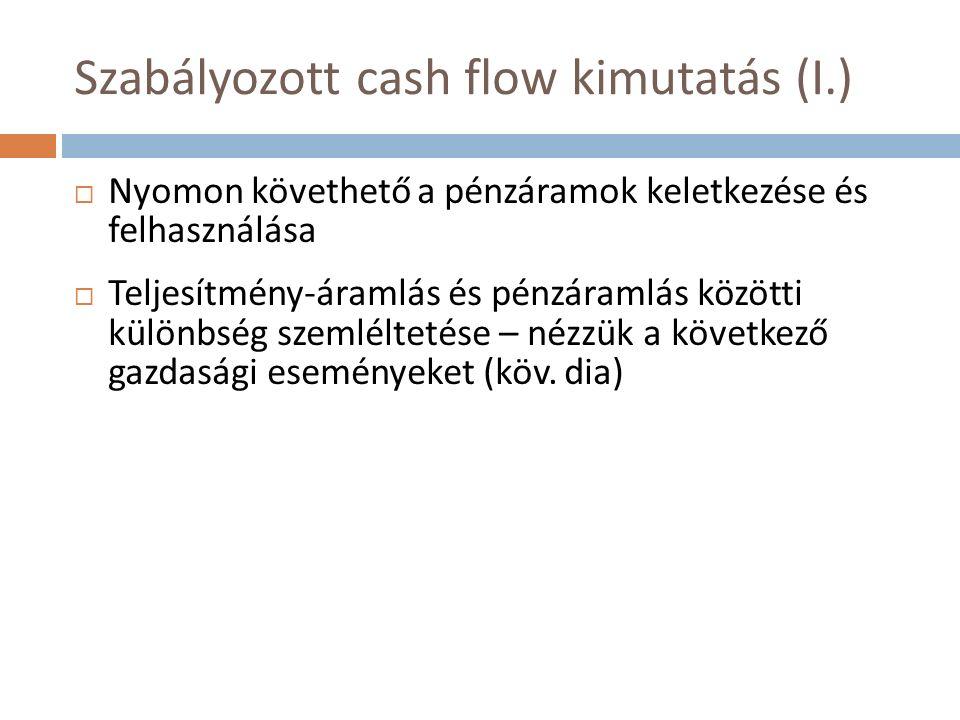 Szabályozott cash flow kimutatás (I.)  Nyomon követhető a pénzáramok keletkezése és felhasználása  Teljesítmény-áramlás és pénzáramlás közötti különbség szemléltetése – nézzük a következő gazdasági eseményeket (köv.