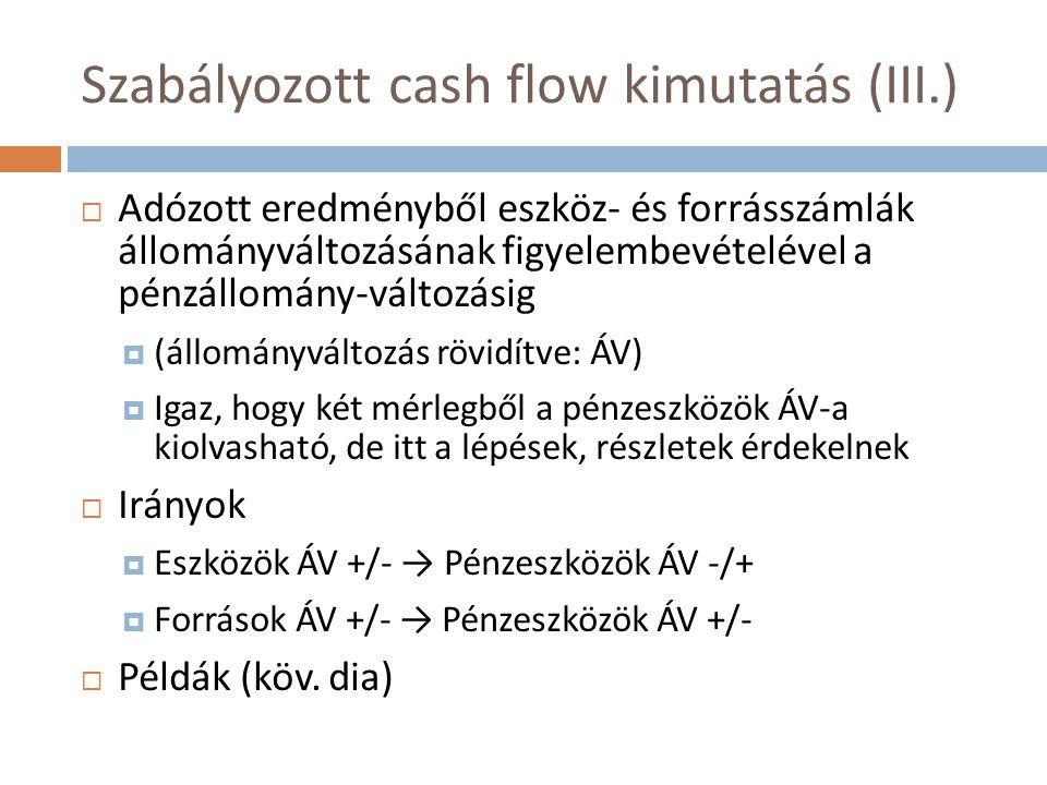 Szabályozott cash flow kimutatás (III.)  Adózott eredményből eszköz- és forrásszámlák állományváltozásának figyelembevételével a pénzállomány-változásig  (állományváltozás rövidítve: ÁV)  Igaz, hogy két mérlegből a pénzeszközök ÁV-a kiolvasható, de itt a lépések, részletek érdekelnek  Irányok  Eszközök ÁV +/- → Pénzeszközök ÁV -/+  Források ÁV +/- → Pénzeszközök ÁV +/-  Példák (köv.