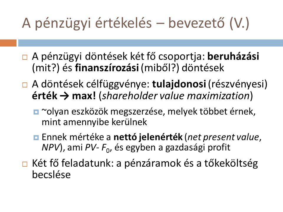 A pénzügyi értékelés – bevezető (V.)  A pénzügyi döntések két fő csoportja: beruházási (mit ) és finanszírozási (miből ) döntések  A döntések célfüggvénye: tulajdonosi (részvényesi) érték → max.