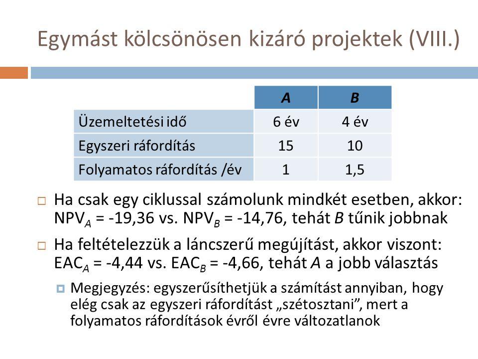 Egymást kölcsönösen kizáró projektek (VIII.)  Ha csak egy ciklussal számolunk mindkét esetben, akkor: NPV A = -19,36 vs.