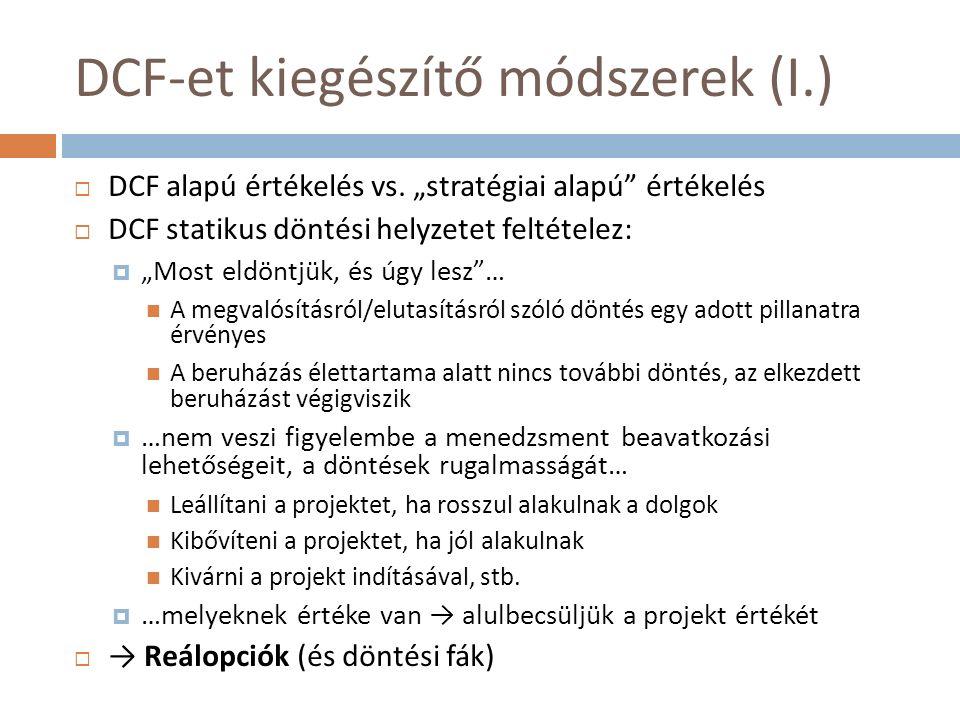 DCF-et kiegészítő módszerek (I.)  DCF alapú értékelés vs.