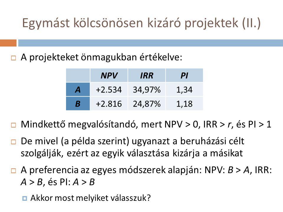 Fedezetipont-elemzés (III.)  A gazdasági fedezeti pont > számviteli fedezeti pont, mert  A kezdő beruházás éves átlagköltsége (EAC) a tőkeköltség figyelembe vétele miatt magasabb, mint az ÉCS  Ahol NPV = 0, ott a projekt már számviteli értelemben nyereséges (árbevétel nagyobb, mert fedezi a tőkeköltséget is), ezért adófizetési kötelezettség jelentkezik, amire szintén fedezetet kell teremteni  (Fix és változó költségek viszonya ~ működési áttétel ~ érzékenység a mennyiségre ~ kockázatosság)