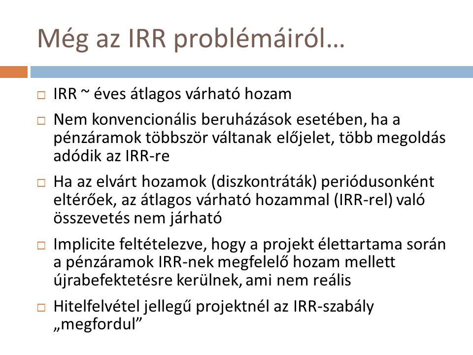 Egymást kölcsönösen kizáró projektek (V.)  Egymást kölcsönösen kizáró és eltérő élettartamú projektek rangsorolásához: nyereség- vagy költség-egyenértékes  Nézzük az alábbi két projektet (r = 10%)  NPV A = 2,34 vs.
