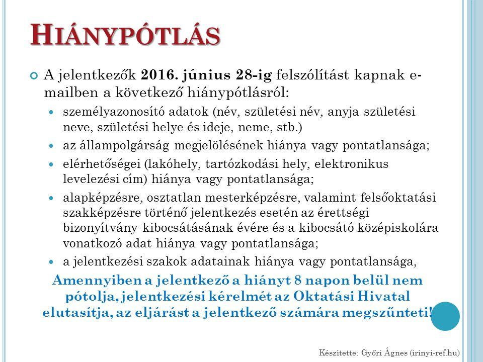 H IÁNYPÓTLÁS A jelentkezők 2016.
