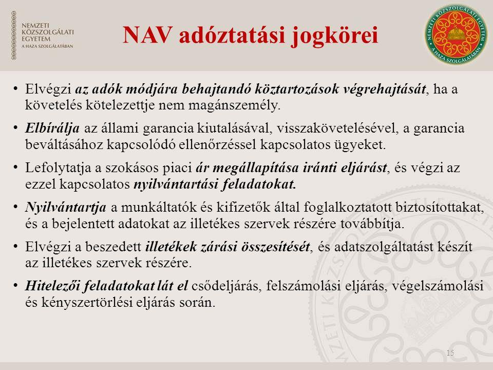 NAV adóztatási jogkörei Elvégzi az adók módjára behajtandó köztartozások végrehajtását, ha a követelés kötelezettje nem magánszemély.